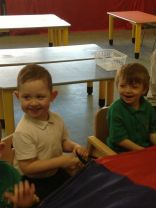 Parachute games in the nursery
